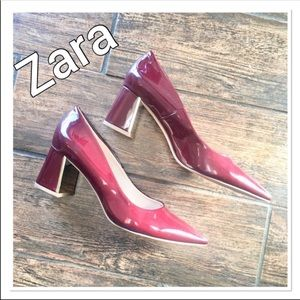 Zara Red Patent Pointy Toe Block Heels